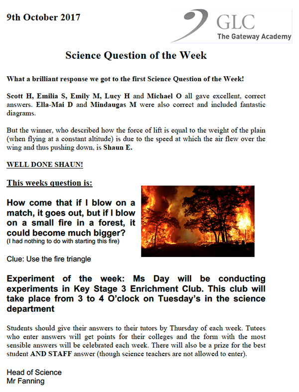 Science Question 9 Oct 17